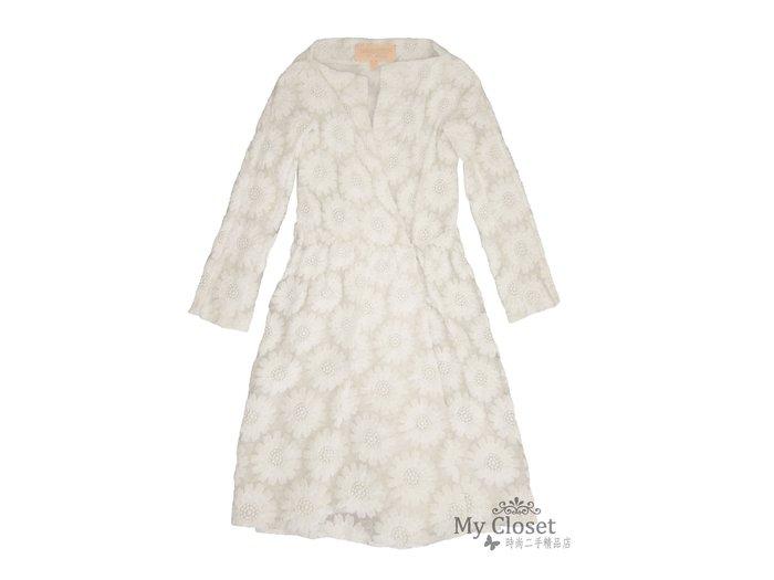 My Closet 二手名牌 GIAMBATTISTA VALLI 米白色花苞形八分袖蕾絲洋裝