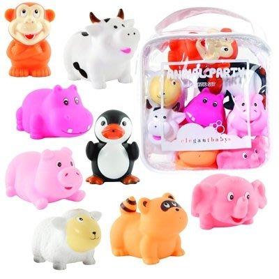♡NaNa Baby♡ 美國Elegant Baby 洗澡玩具8入組- 可愛動物派對 #40500