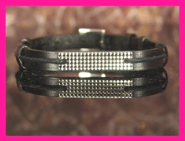 精品大師-ST. DUPONT-DIAMOND CUT純銀牌皮帶手環/市價8000-全新真品