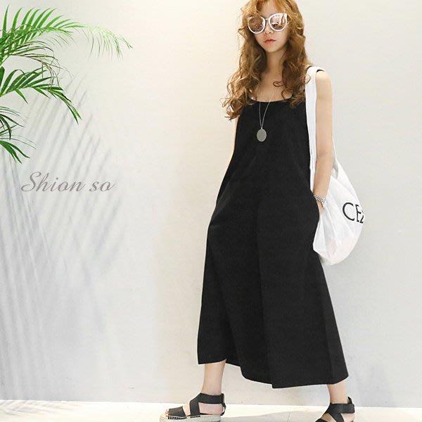享瘦衣身中大尺碼【B1130】日式隨性風吊帶背心寬褲裙