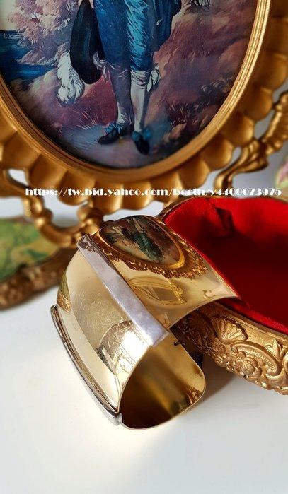 妍媽咪ㄉ西洋古董 ~ 美國古董大牌NAPIER 金色銀調 埃及 摩登手環~Vintage 復古 老件 懷舊