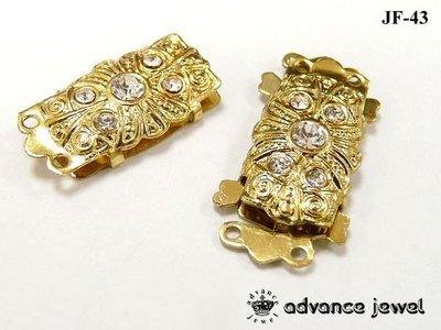 【寶峻晶石】DIY素材~金色水鑽流行串珠,鍊頭,手鍊/項鍊環扣配件,飾品JF-43
