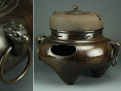 已售日本 江戶期 大型 厚重 紫斑銅 鬼面風爐  古董 茶道 花道  風爐 銅壺 砂鐵 鐵壺 杯托 銀壺