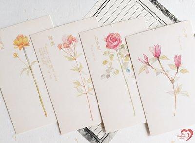 ♥ STORY SAYS ♥【繪花草】信的戀人原創創意設計手繪草本集明信片(一組5張) 卡片 禮物卡 花 草本