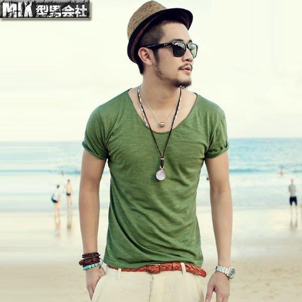 【MIX 型男會社】【買三送一】 XNHS046 夏裝新款雞心領T恤純棉大V領男裝修身純色圓領男士短袖體恤