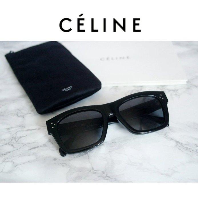 CELINE►(黑色框×深煙灰色偏光鏡片)  方框框型 太陽眼鏡 墨鏡 中性款|100%全新正品|特價!