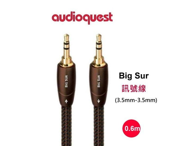 鈞釩音響~美國線聖 Audioquest BIG SUR 3.5mm-3.5mm 音源訊號線(0.6m)