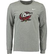 Men's Nike Heather Gray Temple Owls Big Logo Long Sleeve T-Shirt