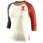 Women's Nike Natural Illinois Fighting Illini Strong Side Tri-Blend Raglan T-Shirt
