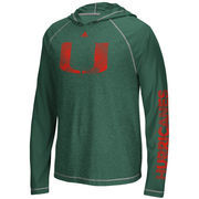 Men's adidas Heathered Green Miami Hurricanes Stealth Surface Utimate Long Sleeve Hooded Performance T-Shirt