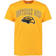 Men's New Agenda Gold Southern Miss Golden Eagles Mid-Size Arch Over Logo T-Shirt