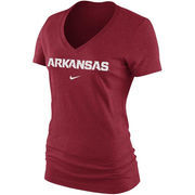 Women's Nike Cardinal Arkansas Razorbacks Arch Mid V-Neck T-Shirt
