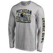 Men's Fanatics Branded Heather Gray Michigan Wolverines 2016 Orange Bowl Bound Playbook Long Sleeve T-Shirt