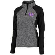Women's Gray/Black Washington Huskies Finalist Quarter-Zip Pullover Jacket