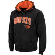 Men's Stadium Athletic Black Oregon State Beavers Arch & Logo Full Zip Hoodie