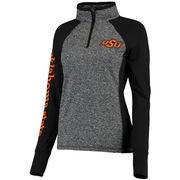 Women's Gray/Black Oklahoma State Cowboys Finalist Quarter-Zip Pullover Jacket