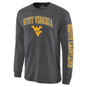 Men's Charcoal West Virginia Mountaineers Distressed Arch Over Logo Long Sleeve Hit T-Shirt