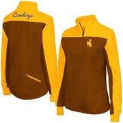 Women's Colosseum Brown Wyoming Cowboys Joust 1/4 Zip Jacket