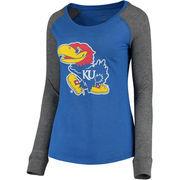 Women's Royal/Gray Kansas Jayhawks Preppy Elbow Patch Slub Long Sleeve T-Shirt