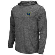 Men's Colosseum Heathered Gray Michigan Wolverines Action Long Sleeve Hooded T-Shirt