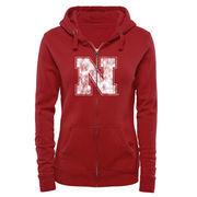 Women's Scarlet Nebraska Cornhuskers Classic Primary Logo Full Zip Hoodie