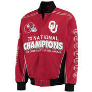 Men's Crimson Oklahoma Sooners Commemorative Twill Jacket