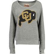 Women's Colorado Buffaloes Gray Big Canvas Knobi Fleece Sweatshirt