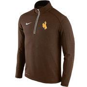 Men's Nike Brown Wyoming Cowboys Football Coaches Sideline Half-Zip Tri-Blend Performance Knit Top
