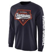Men's Navy Virginia Cavaliers 2015 NCAA Men's Baseball College World Series National Champions Official Logo Long Sleeve T-Shirt