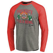 Men's Fanatics Branded Heather Gray Ohio State Buckeyes College Football Playoff 2016 Fiesta Bowl Bound Prime Raglan Long Sleeve