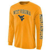 Men's Fanatics Branded Gold West Virginia Mountaineers Distressed Arch Over Logo Long Sleeve Hit T-Shirt