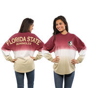 Women's Garnet Florida State Seminoles Ombre Long Sleeve Dip-Dyed Spirit Jersey