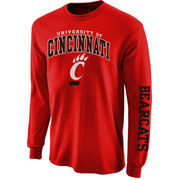 Mens Cincinnati Bearcats Red Arch & Logo Long Sleeve T-Shirt
