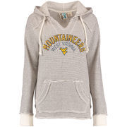 Women's Blue 84 Cream West Virginia Mountaineers Striped French Terry V-Neck Pullover Hoodie