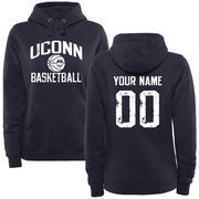 Women's Navy UConn Huskies Personalized Distressed Basketball Pullover Hoodie