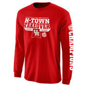 Men's Red Houston Cougars 2015 Peach Bowl Champions Flavor Long Sleeve T-Shirt