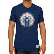 Men's Original Retro Brand Heather Navy Illinois Fighting Illini Vintage Chief Tri-Blend T-Shirt