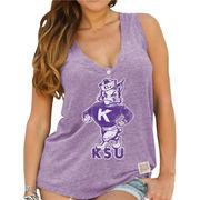 Women's Original Retro Brand Purple Kansas State Wildcats Relaxed Henley V-Neck Tri-Blend Tank Top