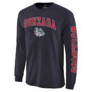 Men's Navy Gonzaga Bulldogs Distressed Arch Over Logo Long Sleeve Hit T-Shirt