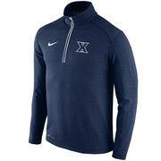 Men's Nike Navy Xavier Musketeers Football Coaches Sideline Half-Zip Tri-Blend Performance Knit Top