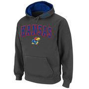 Men's Stadium Athletic Charcoal Kansas Jayhawks Arch & Logo Pullover Hoodie