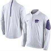 Men's Nike White Kansas State Wildcats 2015 Football Coaches Sideline Half-Zip Wind Jacket