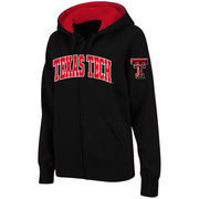 Women's Stadium Athletic Black Texas Tech Red Raiders Arched Name Full-Zip Hoodie