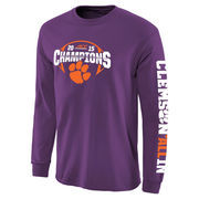 Men's Purple Clemson Tigers 2015 ACC Conference Football Champions Long Sleeve T-Shirt