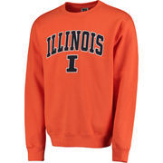 Men's Orange Illinois Fighting Illini Arch & Logo Crew Neck Sweatshirt
