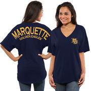 Women's Navy Marquette Golden Eagles Spirit Jersey Oversized T-Shirt