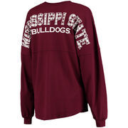 Women's Maroon Mississippi State Bulldogs Gingham Plaid Fill Lightweight Oversized Spirit Jersey Top
