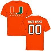 Miami Hurricanes Personalized Football T-Shirt - Orange
