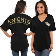 Women's Black UCF Knights Oversized Short Sleeve Spirit Jersey V-Neck Top