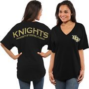 Women's Black UCF Knights Short Sleeve Spirit Jersey V-Neck Top